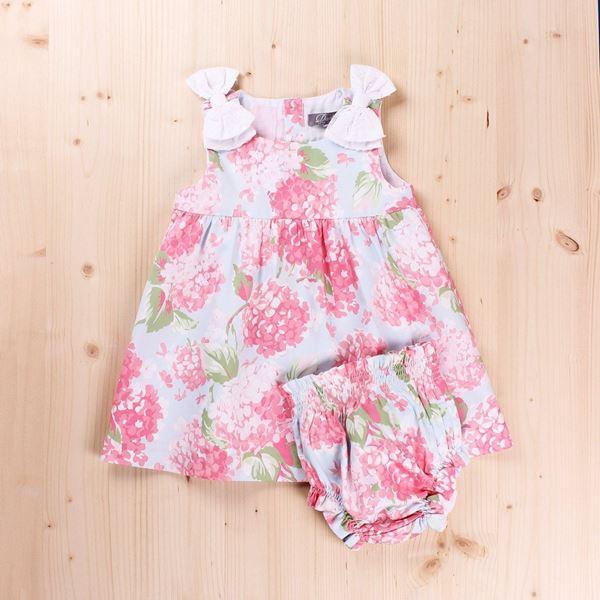 Imagen de Vestido Bebé Bouquet lazos en  plumeti y braguita