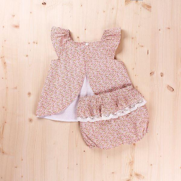 Imagen de Vestido bebé con puntilla y braguita