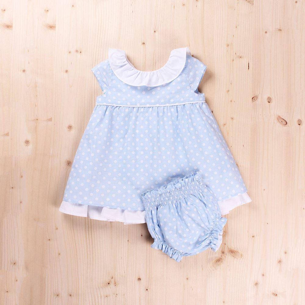 Imagen de Vestido Bebe Topos con volantes y braguita