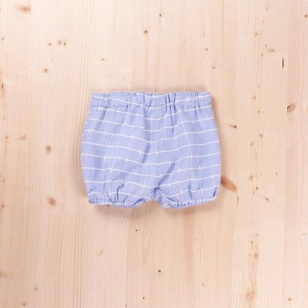 Picture of Short de recién nacido azul de cuadros tipo bombacho