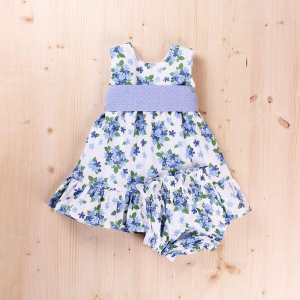 Image de Vestido bebé dobby flores y lazo, con braguita