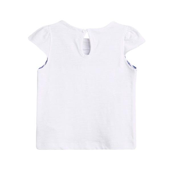 Imagen de Camiseta de bebé niña en blanco con print de rayas marineras