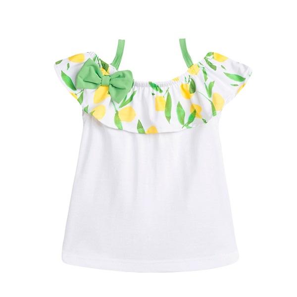 Image de Camiseta de bebé niña en blanco con volante estampado