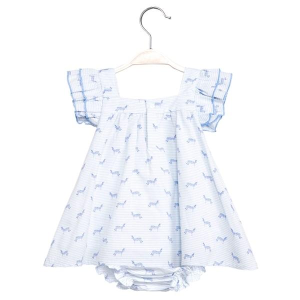 Image de Vestido de bebé niña con estampado de cebras y braguita