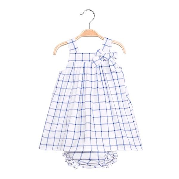 Image de Vestido de bebé niña de cuadros azules con braguita