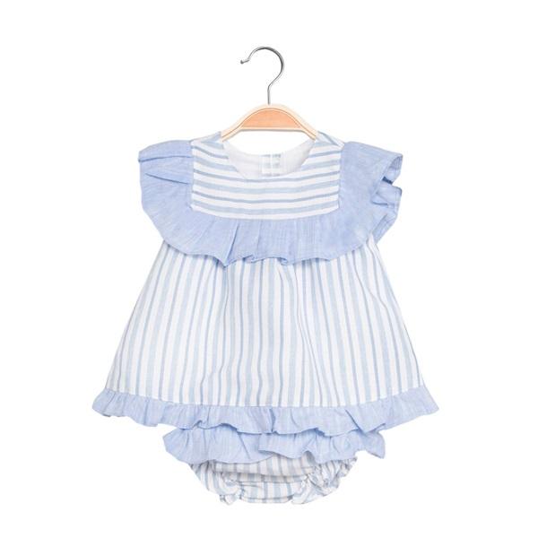 Image de Vestido de bebé niña de rayas con braguita
