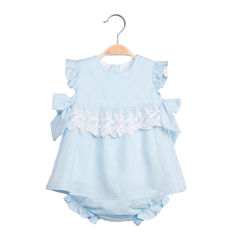 72e56a376df3 Vestido de bebé niña en azul claro con braguita. Dadati - Moda infantil