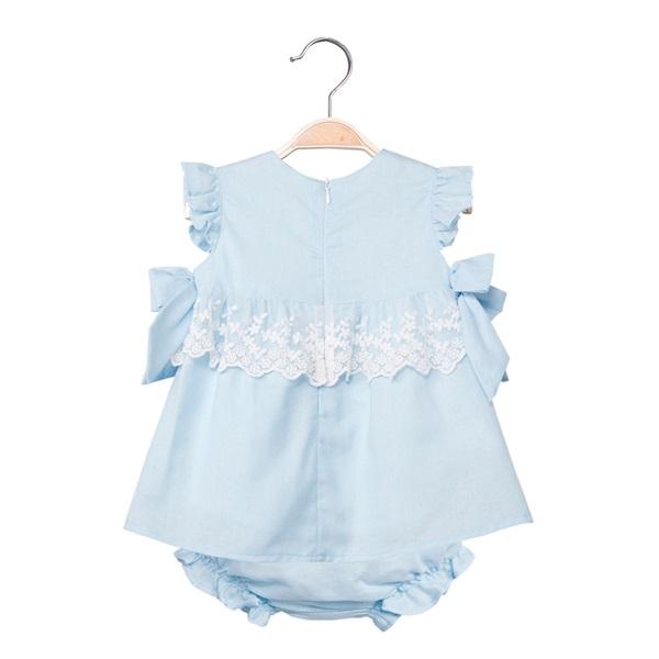 Imagen de Vestido de bebé niña en azul claro con braguita