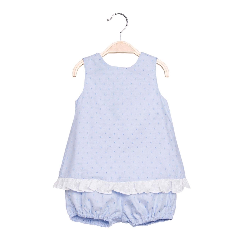 Imagen de Vestido de bebé niña en azul claro con pololo