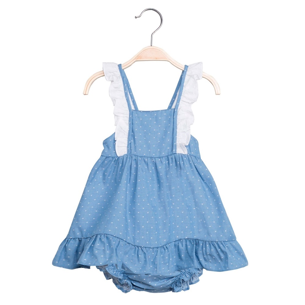 Imagen de Vestido de bebé niña en azul con topos y braguita