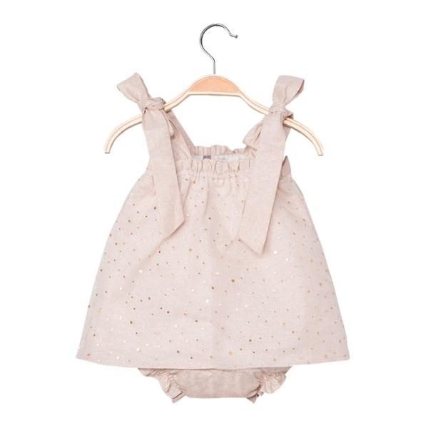 Imagen de Vestido de bebé niña en color arena con braguita
