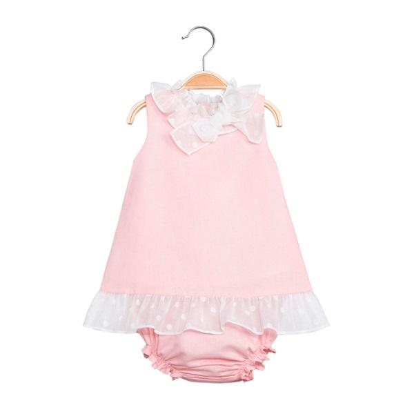 Image de Vestido de bebé niña en rosa claro con braguita