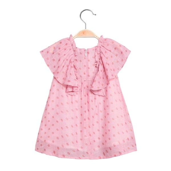 Imagen de Vestido de bebé niña rosa con topos