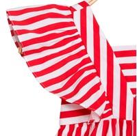 Imagen de Vestido de niña de rayas rojas con volantes
