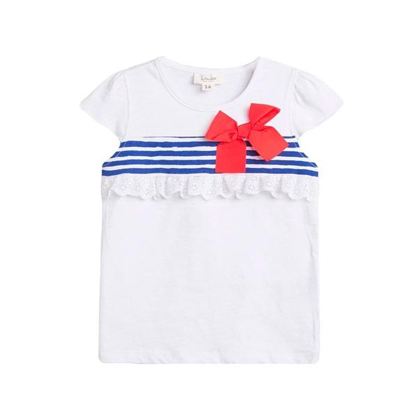Imagen de Camiseta de niña en blanco con print rayas marineras