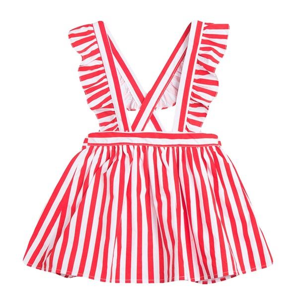 Image de Falda de niña de rayas rojas con tirantes