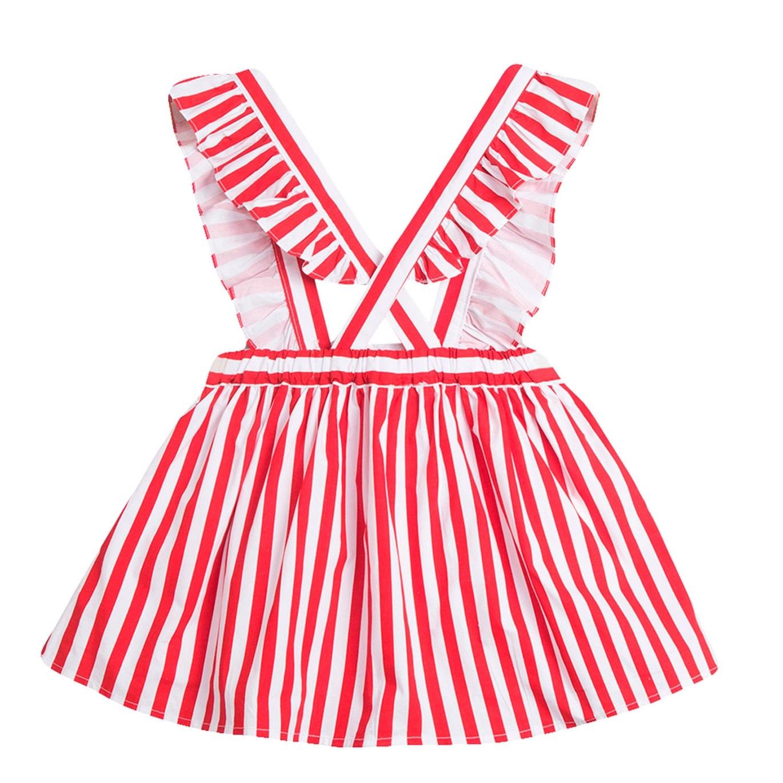 Imagen de Falda de niña de rayas rojas con tirantes