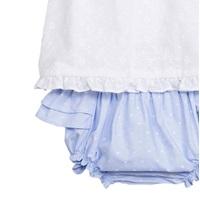 Imagen de Vestido de bebé niña en blanco y azul con braguita