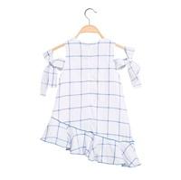 Picture of Vestido de niña asimétrico de cuadros azules