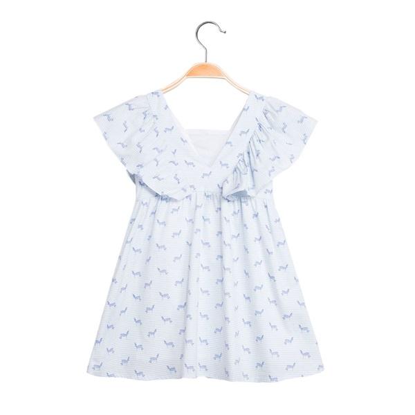 Image de Vestido de niña con estampazo de cebras y volantes