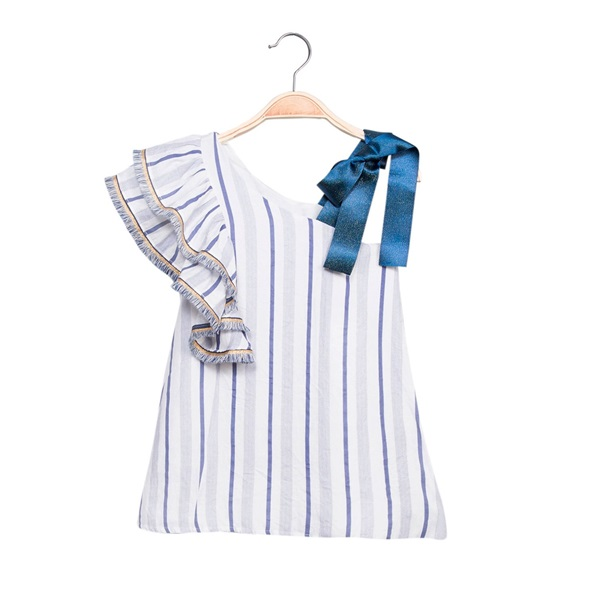 Image de Vestido de niña de rayas con volante
