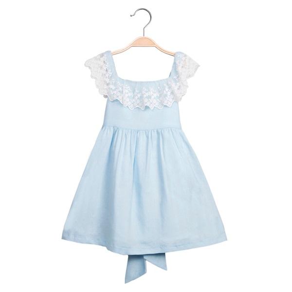Image de Vestido de niña en azul claro con encaje