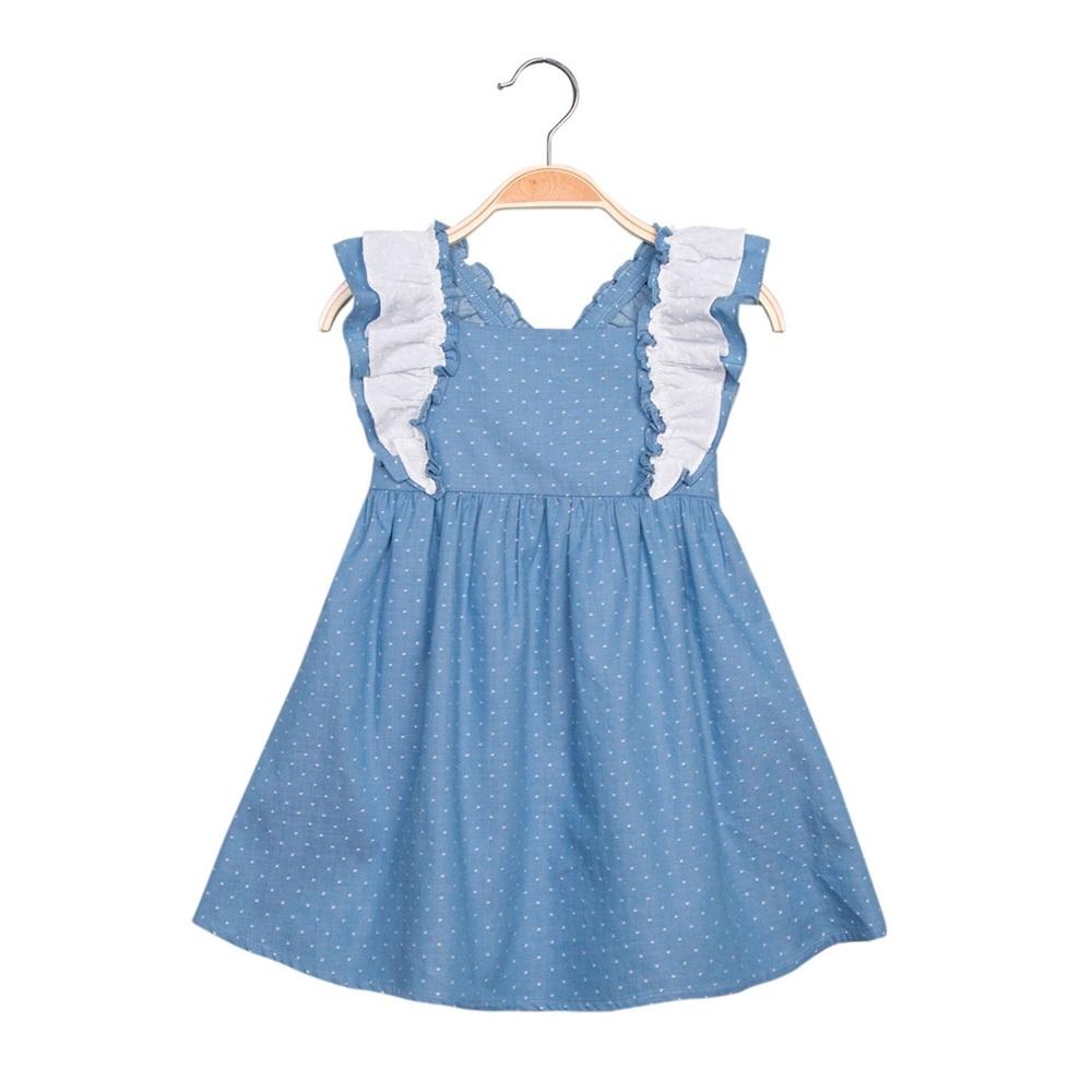 Picture of Vestido de niña en azul con topos y volantes