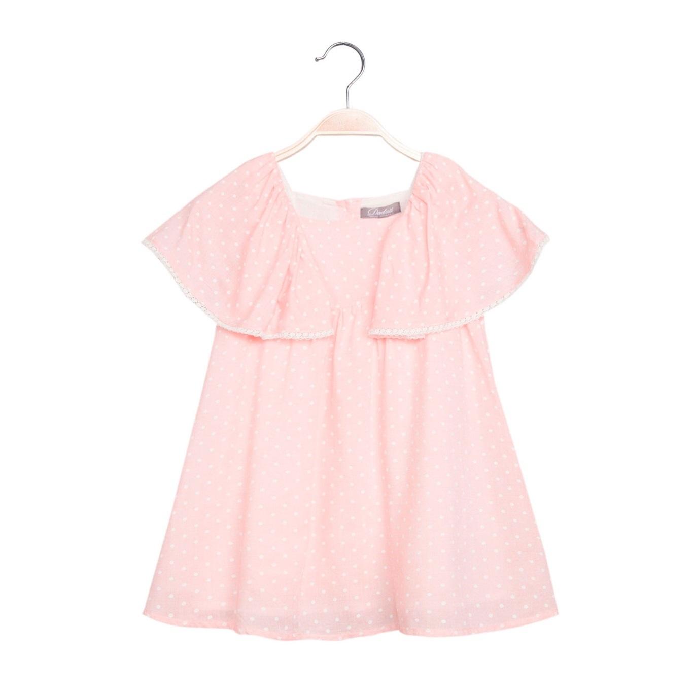 Imagen de Vestido de niña en rosa claro con topos