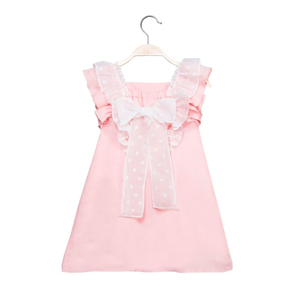 Image de Vestido de niña en rosa claro con volantes
