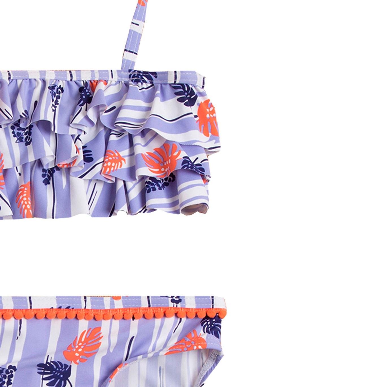 Imagen de Bikini de niña con estampado de hojas y volante