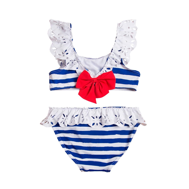 c4e8dcbe501 Bikini de niña con rayas marineras y lazo . Dadati - Moda infantil