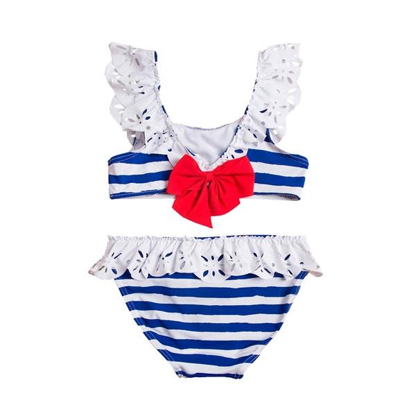 Imagen de Bikini de niña con rayas marineras y lazo