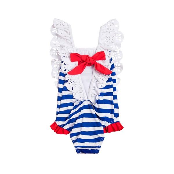 Imagen de Bañador de niña con rayas marineras y lazo