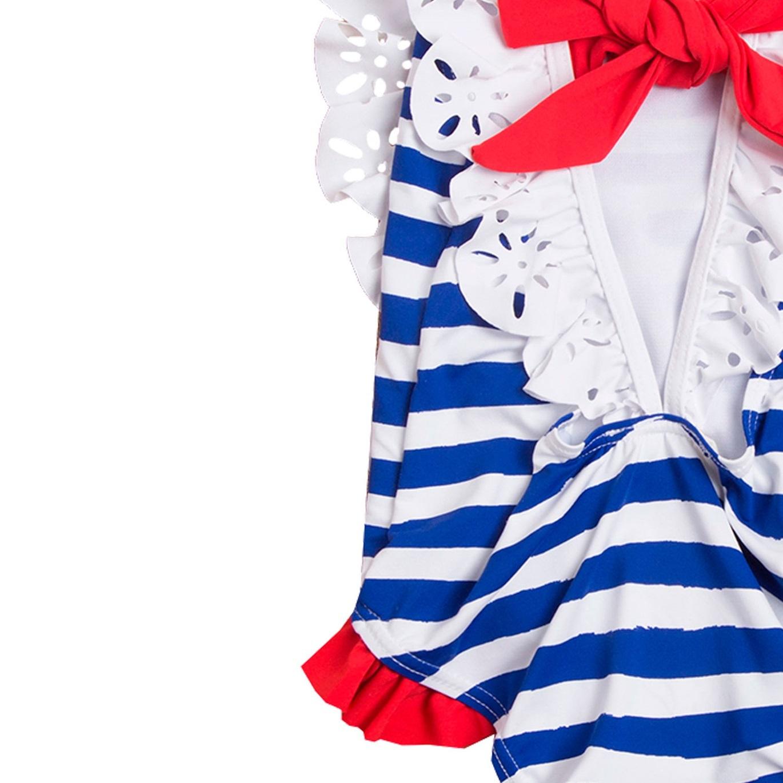 ab9a2ca83 Bañador de niña con rayas marineras y lazo . Dadati - Moda infantil