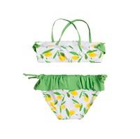 Imagen de Bikini de niña con estampado de limones y volante