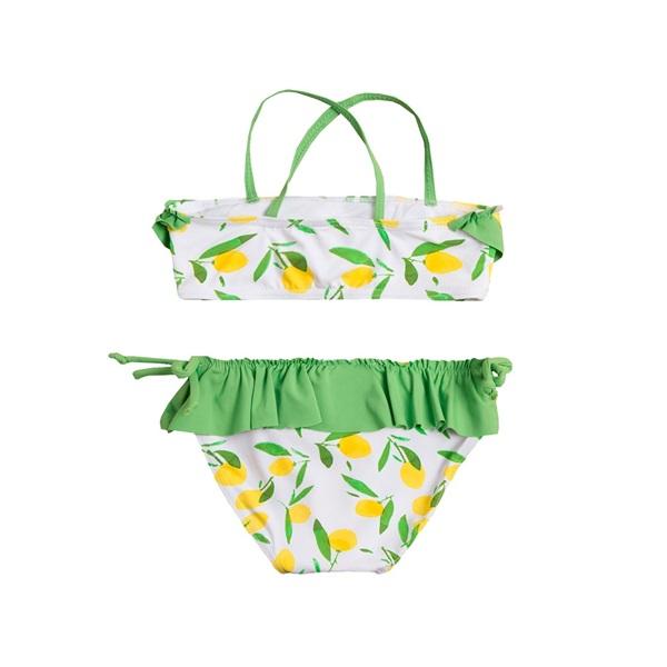 Image de Bikini de niña con estampado de limones y volante