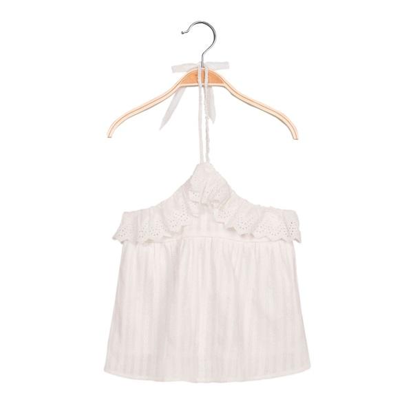 Imagen de Blusa de niña con cuello halter y volantes