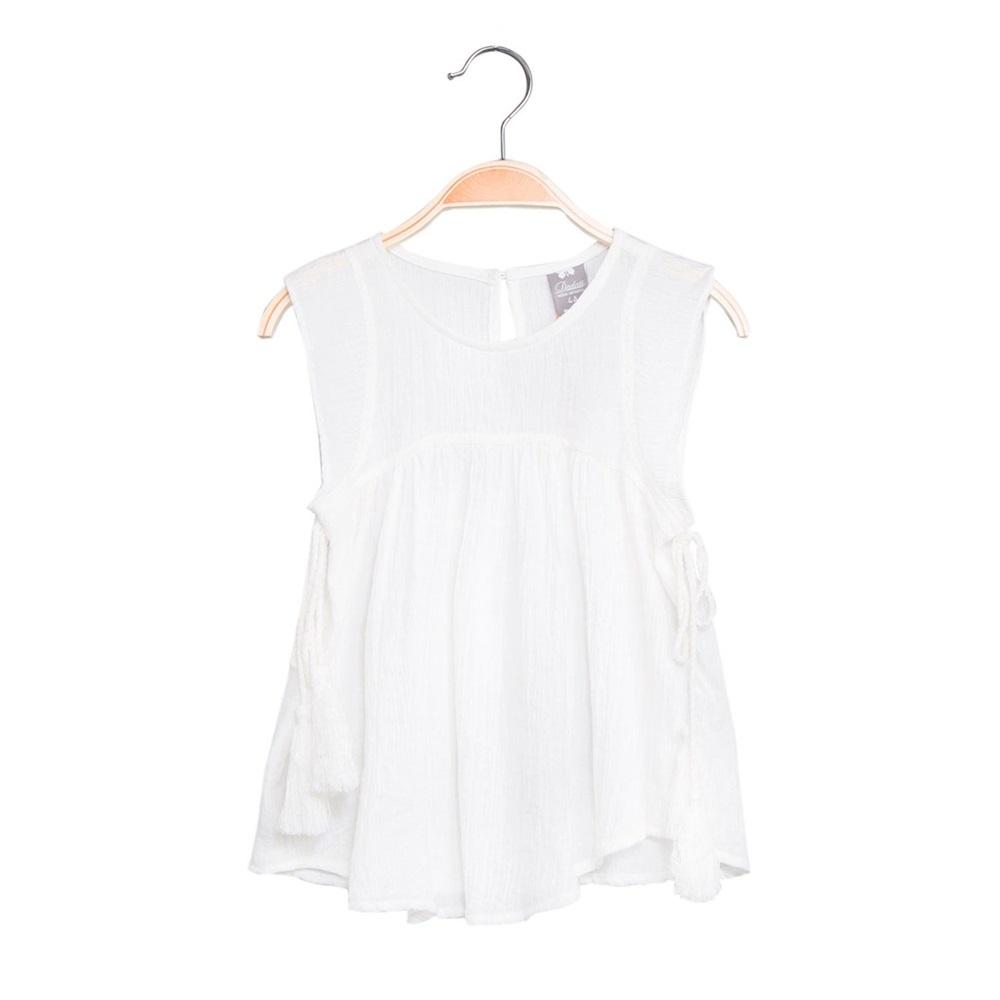 Picture of Blusa de niña en blanco con borlas