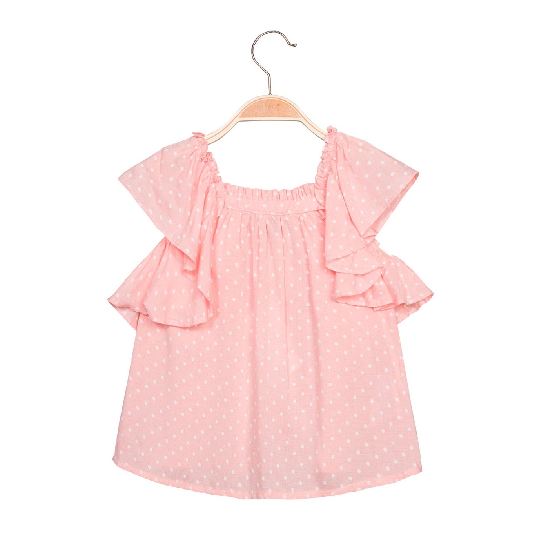 Imagen de Blusa de niña en rosa claro con topos