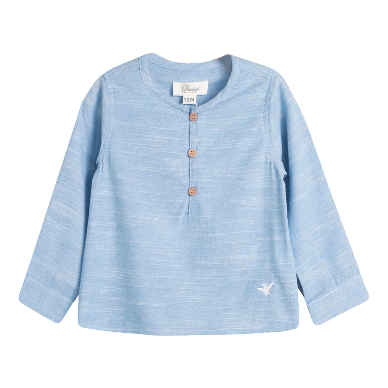 Image sur Camisa de bebé niño en azul jaspeado y manga larga