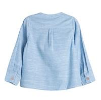 Image de Camisa de bebé niño en azul jaspeado y manga larga