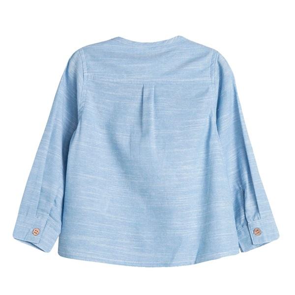 Picture of Camisa de bebé niño en azul jaspeado y manga larga