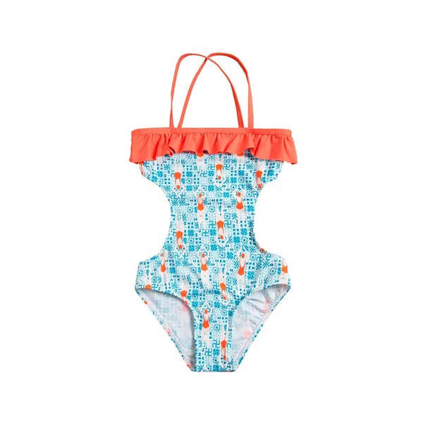 Imagen de Trikini de niña con estampado de nadadoras y volante