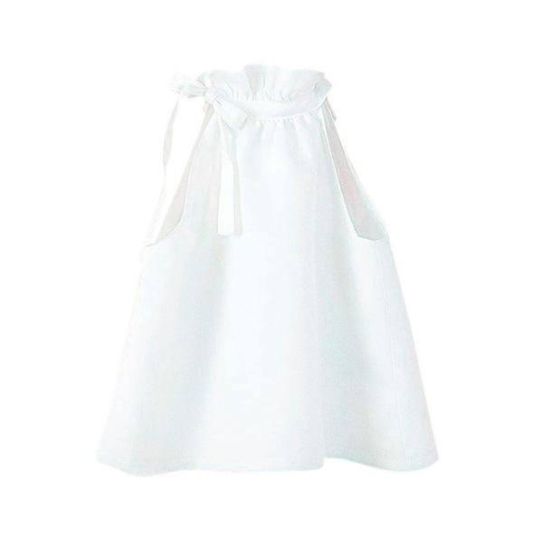 Image de Blusa de niña en blanco con cuello halter