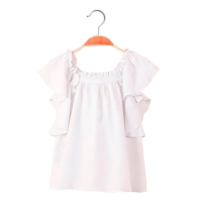 d3899a164 Blusa de niña en blanco con volante. Dadati - Moda infantil