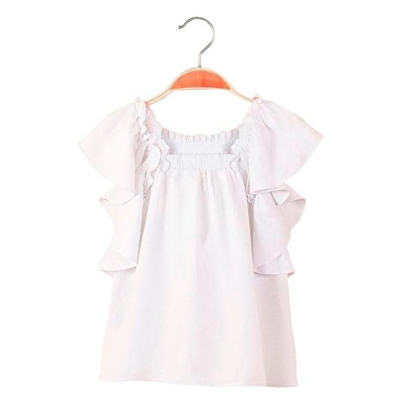 Imagen de Blusa de niña en blanco con volante