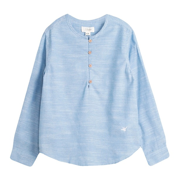 Imagen de Camisa de niño en azul jaspeado y manga larga