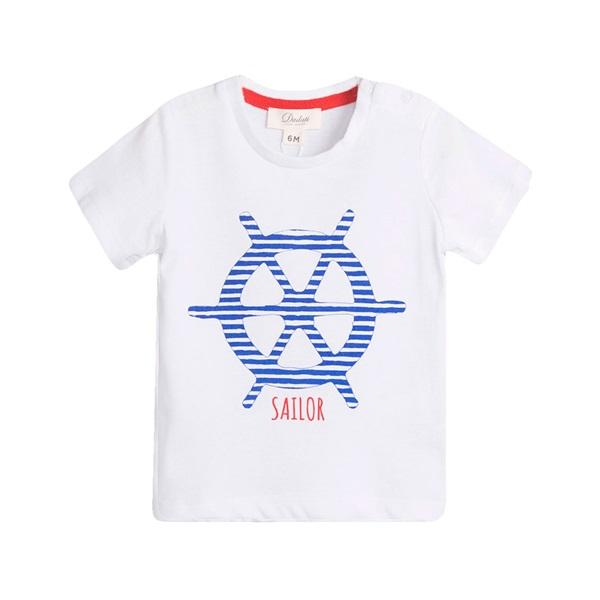 Image de Camiseta de bebé niño en blanco con print marinero