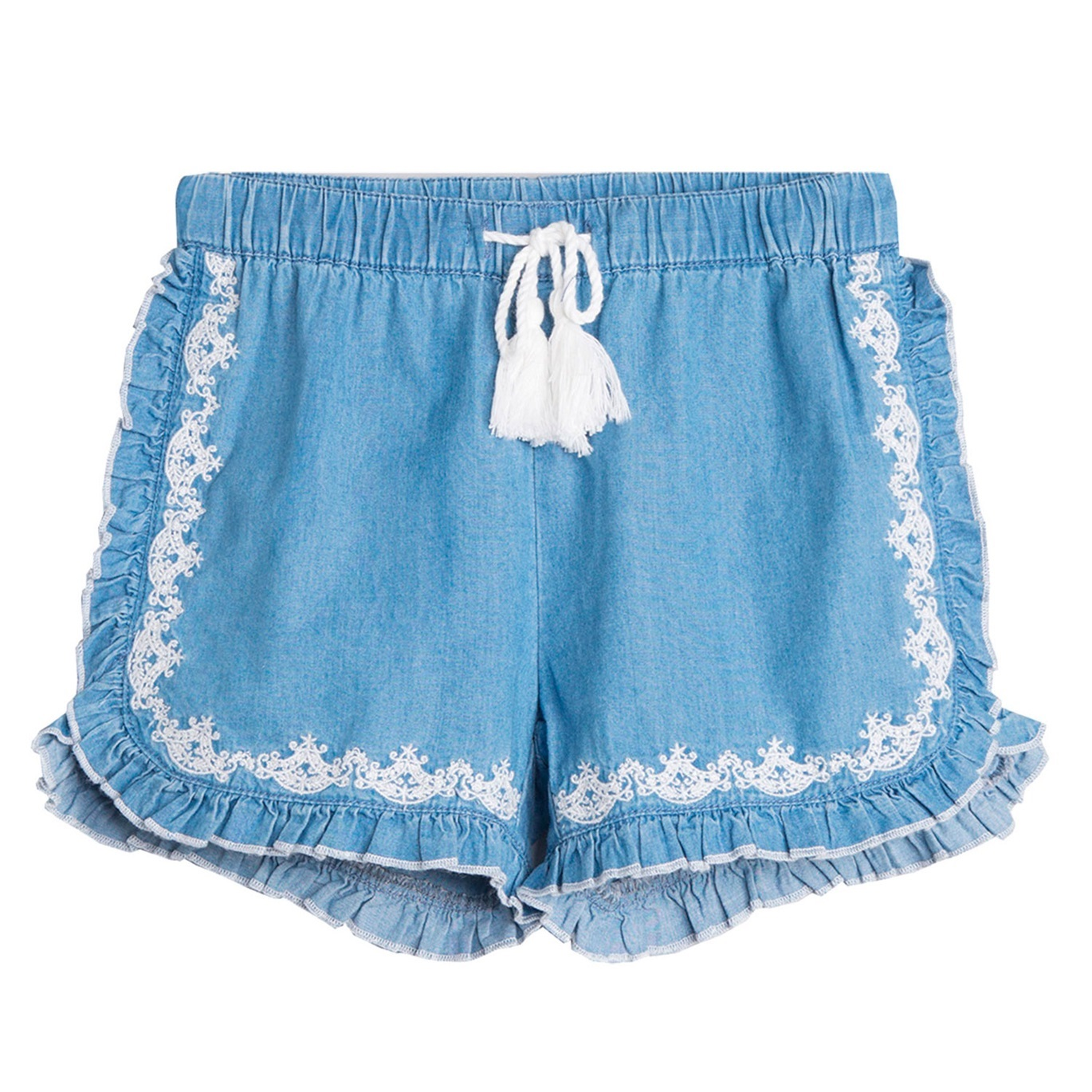 41db52516 Short de niña en denim bordado
