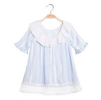 Imagen de Vestido de niña de rayas con volante plisado